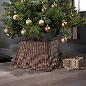 Christmas Xmas Tree Rattan Wicker Skirt Stand Base Basket Cover Tidy Decor