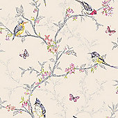 Phoebe Birds Wallpaper - Cream - 98082