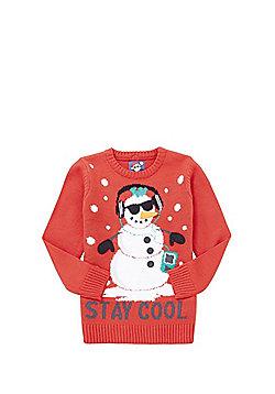 F&F Snowman Stay Cool Slogan Christmas Jumper - Red