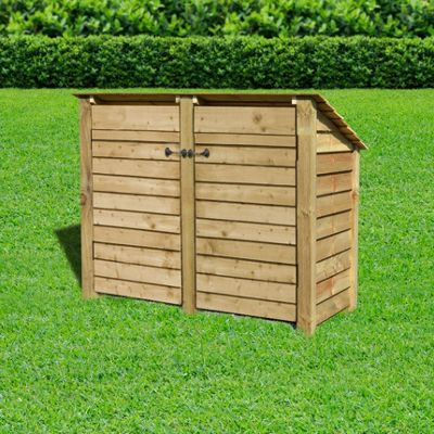 Cottesmore wooden reverse roof log store with doors - 4ft