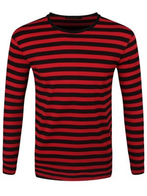 Striped Red and Black Long Sleeved Men's T-shirt