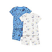 F&F 2 Pack of Letters and Numbers Pyjamas - Blue & Grey