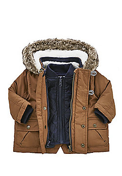 F&F 3 in 1 Quilted Gilet and Parka - Tan & Navy