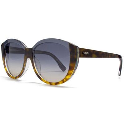 Fendi Sunglasses Two Tone Cateye in Havana and Blue.