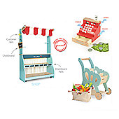 Le Toy Van Shop & Cafe Honeybake, Shopping Trolley and Cash Register Set