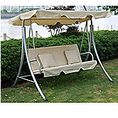 Outsunny Swinging 3 Seater Chair + 2 Cushions in Cream