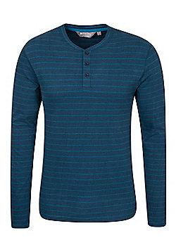 Mountain Warehouse Henley Mens Stripe Long Sleeve Top - Blue