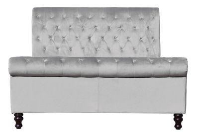Lambeth Grey Velvet Fabric Upholstered Sleigh Double Bed Frame