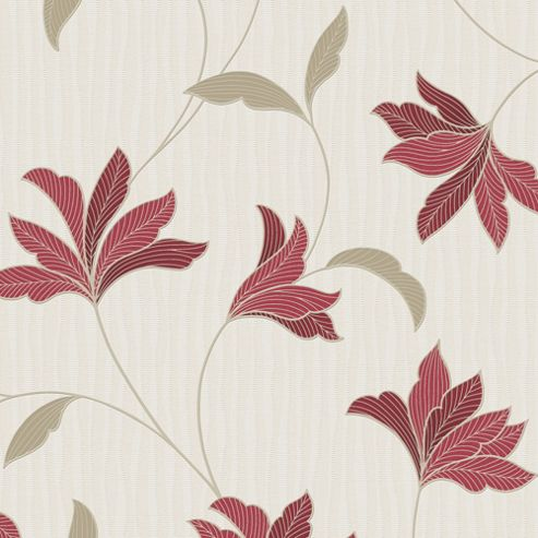 Superfresco Alannah Floral Red/Gold Wallpaper
