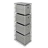 EHC 4 Drawer Polypropylene Woven Storage Tower With Handle Inlets-Grey