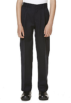 "F&F School 2 Pack of Boys Teflon EcoElite""™ Flat Front Slim Leg Trousers - Navy"