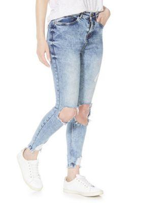 Noisy May Distressed Skinny Jeans Blue Acid Wash 26 Waist 32 Leg
