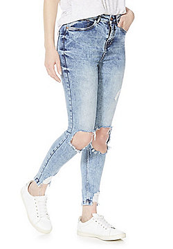 Noisy May Distressed Skinny Jeans - Blue Acid Wash
