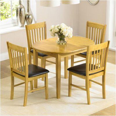 Alaska Solid Hardwood Dining Set with 4 Chairs