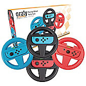 Orzly Racing Wheels for Nintendo Switch - Party Pack (2x Black Wheels, 1x Red Wheel, 1x Blue Wheel )