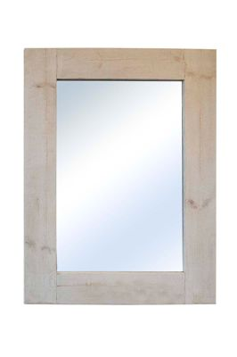 Large Rustic White Solid Wood Wall Mirror 4Ft X 3Ft (122Cm X 91Cm)
