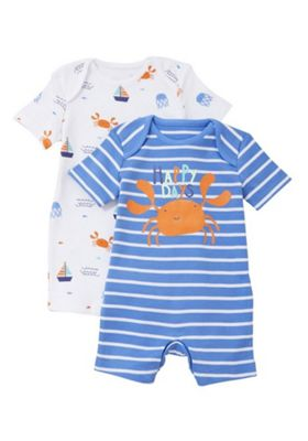 F&F 2 Pack of Slogan and Sea Print Rompers Blue/White 18-24 months