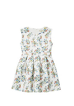 Yumi Girl Floral Jacquard Fit and Flare Dress - Cream