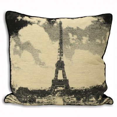 Riva Home Black and White Cities Eiffel Tower Black Cushion Cover - 60x60cm