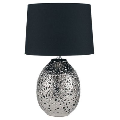 Shiny Silver Ceramic Cut Out Table Lamp Complete