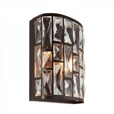 Dark Bronze Effect Plate & Clear Crystal 1lt Wall 40W