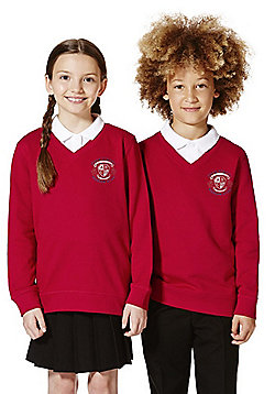 Unisex Embroidered V-Neck School Sweatshirt with As New Technology - Red