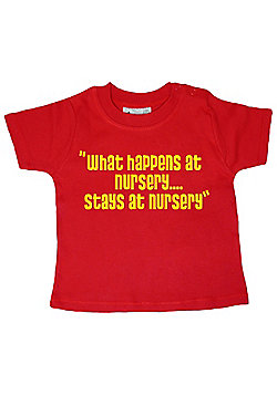 Dirty Fingers What happens at Nursery stays at Nursery Baby T-shirt - Red
