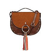 F&F Tassel Trim Studded Cross-Body Bag