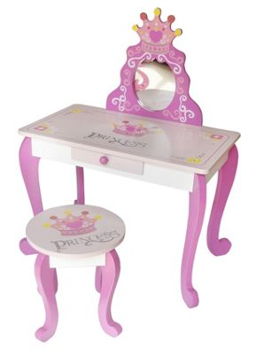 Kiddi Style Wooden Princess Dressing Table & Stool - Pink