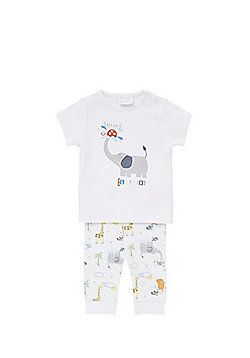 F&F Safari Animal Print Pyjamas - White