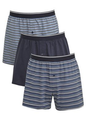 F&F 3 Pack of Stripe Jersey Boxer Shorts with As New Technology S Blue