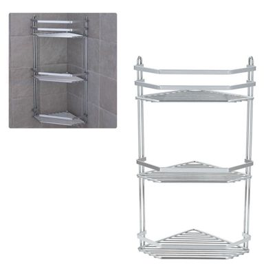3 Tier Chrome Corner Shower Rack Bathroom Organiser