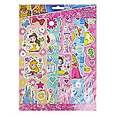 Disney Princess 5 Sheets Of Stickers Set Featuring Ariel, Belle & Snow White