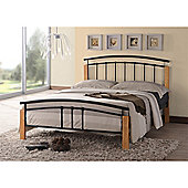 """Black Metal & Beech Bed Frame - Double 4ft 6"""" - Fast Delivery - Pick A Day"""