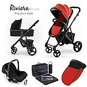 Riviera Plus 3 in 1 Black Travel System, Black & Coral Red