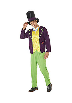 Roald Dahl Willy Wonka Adult Fancy Dress Costume - Purple