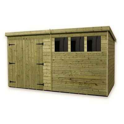 12 x 6 Maldon Large Pressure Treated T&G Pent Shed + Double Doors + 3 Windows (12ft x 6ft)