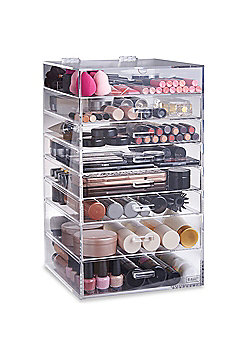 Beautify Large 8 Tier Clear Acrylic Makeup Organiser with 7 Drawers & 2 Removable Dividers