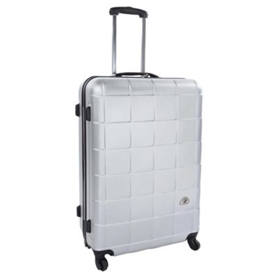 Beverly Hills Polo Club Hard Shell 4-Wheel Suitcase, Silver Square Print Small