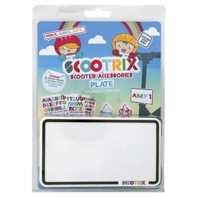 Scootrix Ride-On Number Plate, White