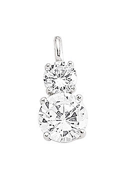 Jewelco London Rhodium-Plated Sterling Silver Drop Pendant