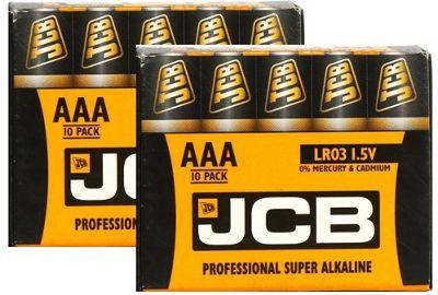 20 x JCB AAA 1.5V Professional Super Alkaline Industrial Batteries LR03 R3