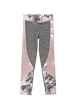 F&F Active Foil Panel Quick Dry Leggings - Grey & Pink