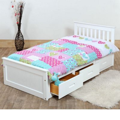 Happy Beds Mission Wood Storage Bed - White - 3ft Single