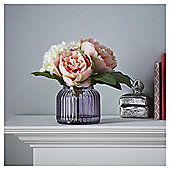 Fox & Ivy Artificial Peony And Hydrangea In Ribbed  Vase