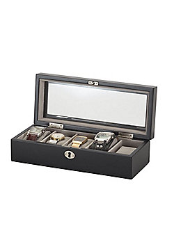 Java Black Lockable 5 Watch Box
