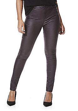 F&F Coated Mid Rise Skinny Trousers - Plum