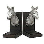 Silver Horse Head Bookends (Pair) Metallic Finish