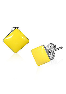 Urban Male Stainless Steel Square Studs In Yellow 7mm For Men