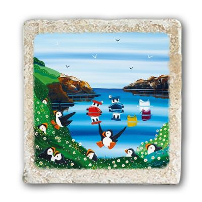 Original Metal Sign Co Marble Coaster, Puffins